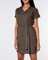 Line Buttons Dress Olive Drab