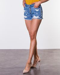 Pacy Raw Edge Denim Shorts Medium Blue Denim
