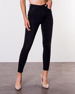 Mila High Waist Skinny Ankle Jeans Black Denim