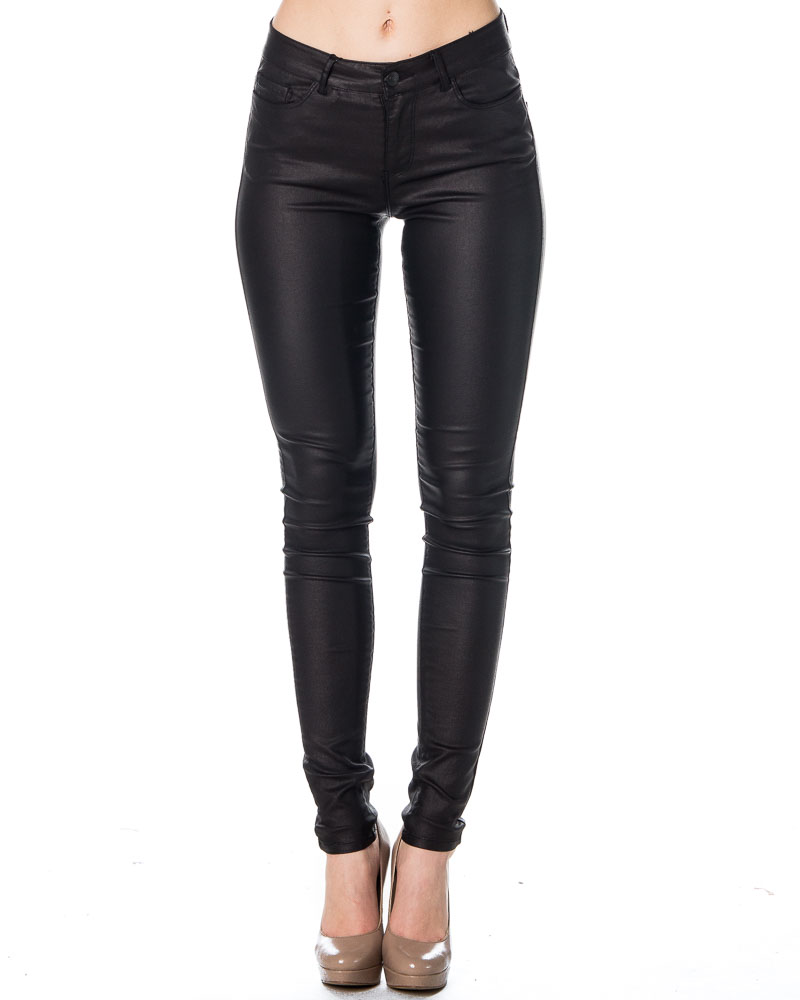 Vero Moda Seven NW Smooth Coated Pants Black | Trousers and jeans