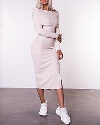 Ellen Knitted Off Shoulder Dress Cream