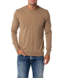 Basic O-neck Cashmere/Cotton Dessert Sand
