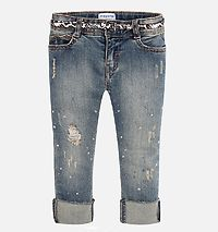 Dirty Denim Trousers With Belt