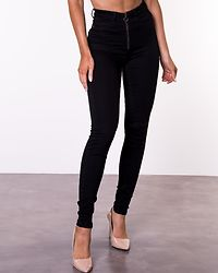 Callie Skinny Zip Jeans Black Denim