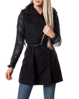 Mary Lisa Long Mix Wool Coat Black