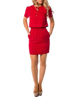 Delores Waisted Dress Tango Red