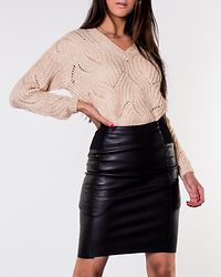 Buttersia High Waist Coated Skirt Black