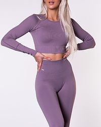 Pale Plum Ribbed Seamless Crop Long Sleeve