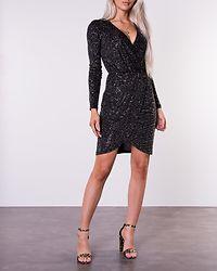 Jistelle Fake Wrap Dress Black/Gold Foil