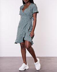 Olivia Wrap Dress Green/Black Spot