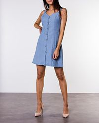 Samantha Chamb Short Button Dress Light Blue Denim