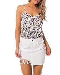 Nicole Denim Fishnet Skirt Bright White
