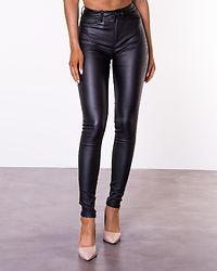 Callie High Waist Skinny Coated Pants Black