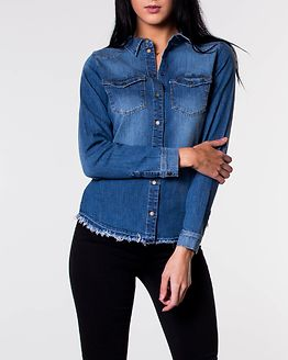 Kaylin Raw Denim Shirt Medium Blue