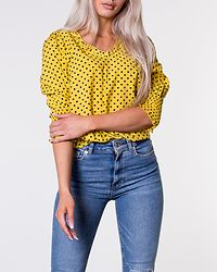 Loreen V-Neck Shirt Yellow/Dotted