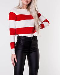 Sethe O-Neck Button Back Blouse Snow White/Fiery Red