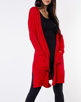 Becca Long Knit Cardigan Chinese Red