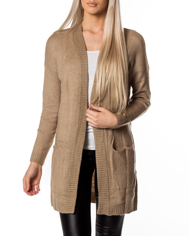 Jacqueline de Yong, Gold Cardigan Light Grey Melange | Women's ...