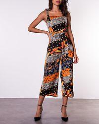 Kyrie Square Neck Tie Waist Jumpsuit Orange Paisley Print