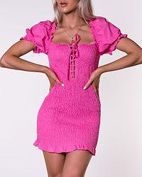 Shirred Mini Dress Bright Pink