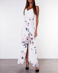 Farah Floral Cami Split Maxi Dress White Floral