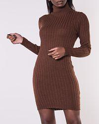 Amanda Long Line Ribbed Roll Neck Dress Mocca