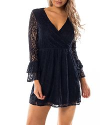 Louisa Wrap Bell Sleeve Dress Night Sky