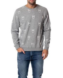 Owl Print Sweatshirt Grey Melange