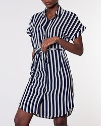 Sasha Shirt Dress Navy Blazer/Snow White Stripes