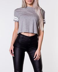 Lula Crop T-Shirt Grey Marl/White