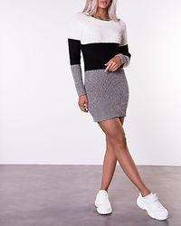 Siesta O-Neck Color Block Knit Dress Sugar Swizzle/Black/Medium Grey Melange