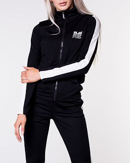 Hermosa Fitted Highneck Zip Sweat Black/White