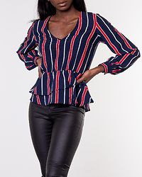 Denice Blouse Blue/Red/Striped