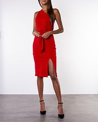 Alexa One Shoulder Knot Front Midi Dress Red
