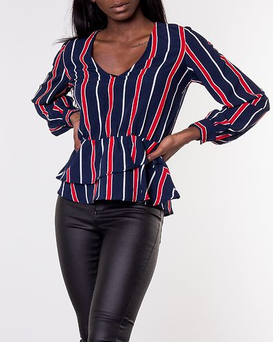 e3ce0f44b21b Denice Blouse Blue/Red/Striped