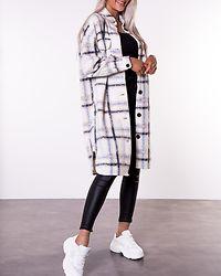 Chrissie Long Check Shirt Birch/Navy Blazer