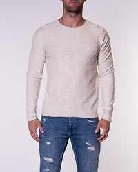 Niels Organic Knit Crew Neck White Melange/Knit Fit