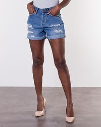 Be Liv Destroyed Denim Shorts Light Blue Denim