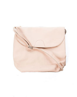 Macca Leather Cross Over Bag Nude