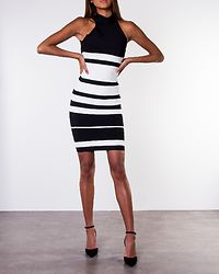 Louisa High Neck Stripe Bandage Dress Black/White