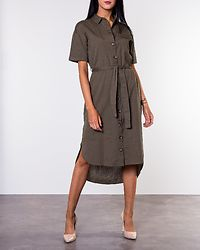 Line Sleeve Shirt Dress Olive Drab