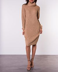 Knitted Roll Neck Jumper Dress Camel