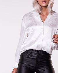 Jacquard Satin Shirt White