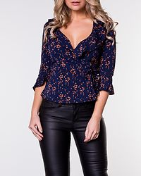 Saturn Blouse Navy With Orange Hearts