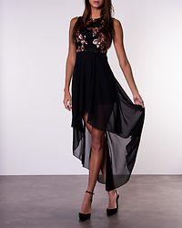 Eleanor Sequin Top Dress Black/Rose Gold
