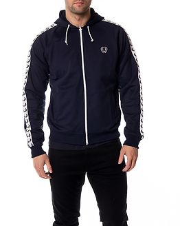 Taped Hooded Track Jacket Carbon Blue