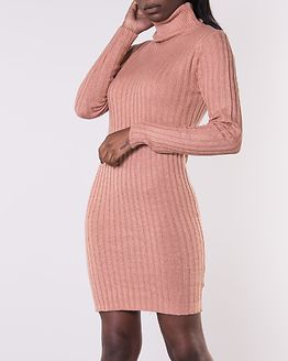 Amanda Long Line Ribbed Roll Neck Dress Dysty Pink