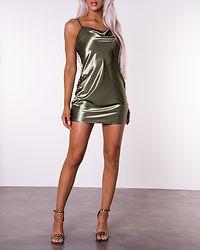 Thin Strap Satin Mini Dress Olive Green