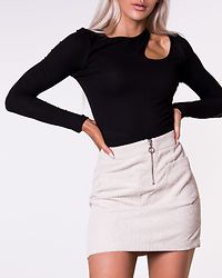 Cut Out Long Sleeve Top Black