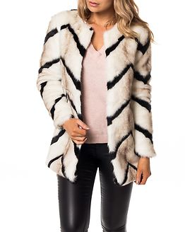 Bailey Long Fur Coat Cloud Dancer/Black Stripe